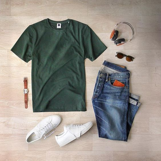 collage of clothes that includes men's jeans, shoes t-shirt and a watch