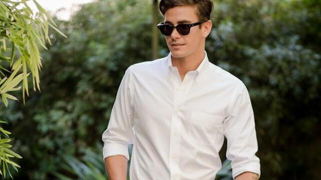 Man wearing White Oxford Button Down Shirt
