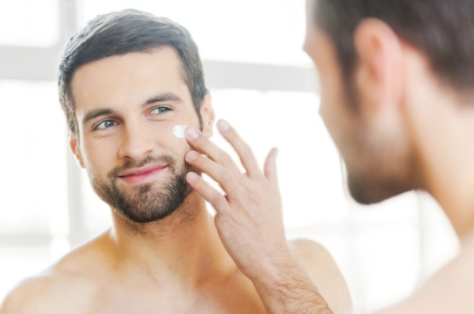Man feeling happy after acne treatment