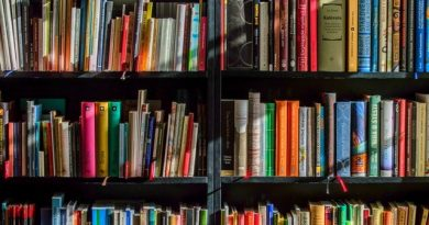 Books kept in a display at a book store