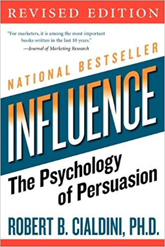 Front cover of Influence the psychology of persuasion by Robert Cialdini PhD book