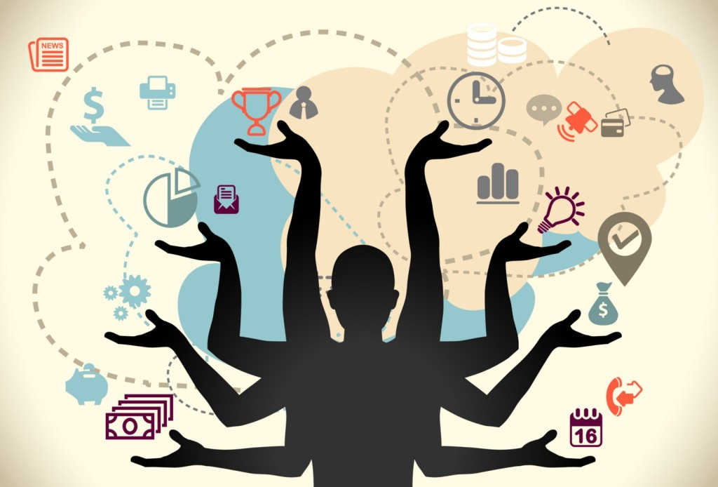 A person increasing productivity by multitasking