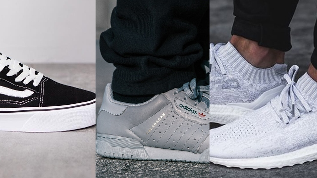Vans old-school, Adidas UltraBoost and Yeezy Powerphase sneakers