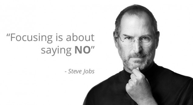 "Productivity quote by Steve Jobs saying ""Focusing is about saying no"""