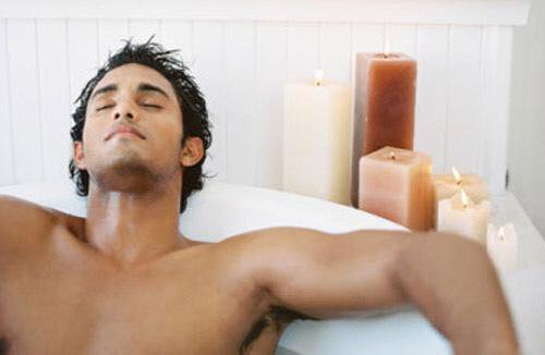 Man taking bath to be attractive