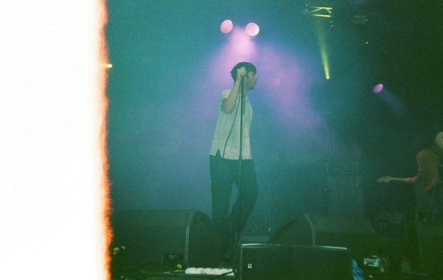 Singer singing on stage