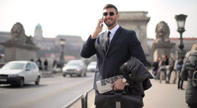 A man in suit hustling