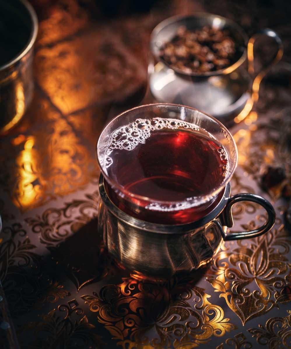 Black tea in a cup