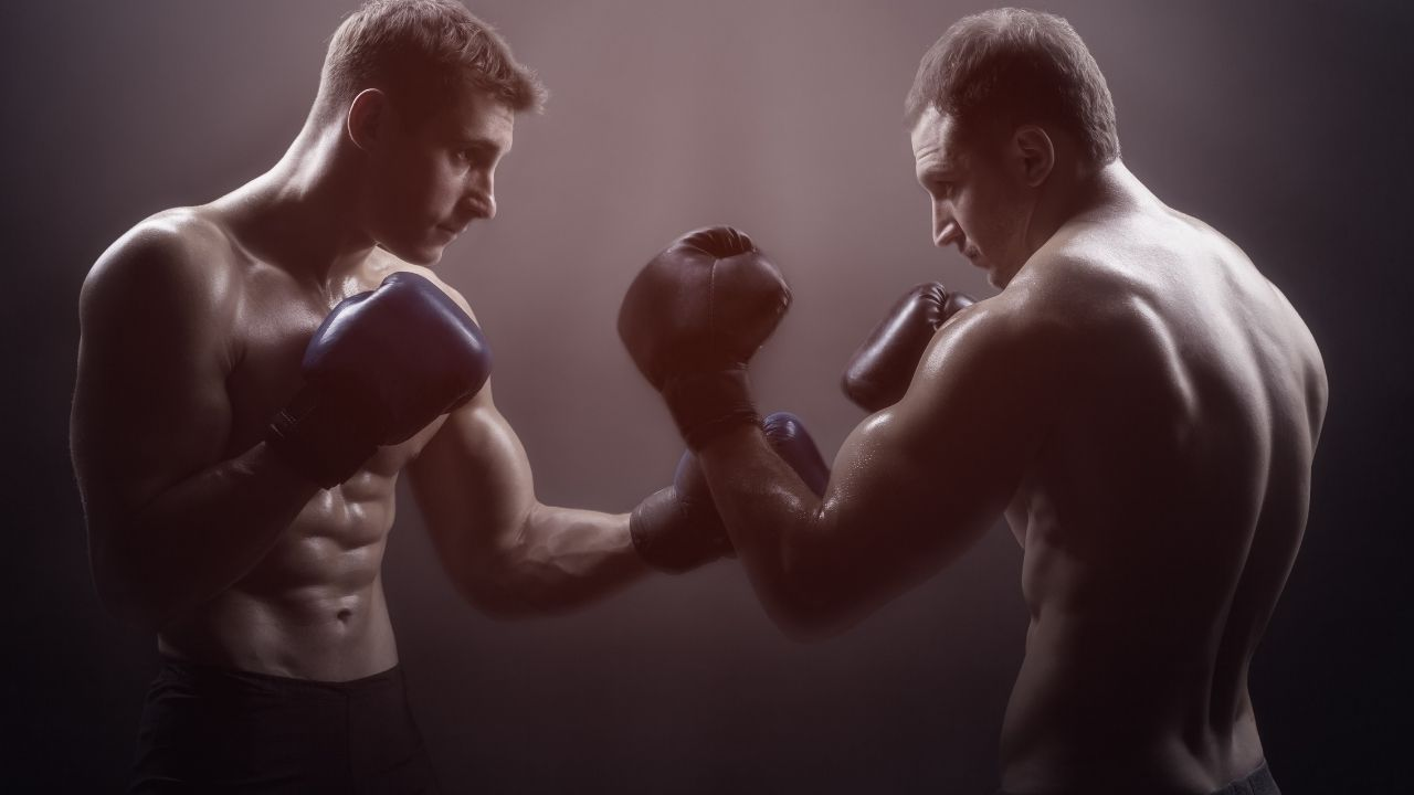 two boxers facing each other