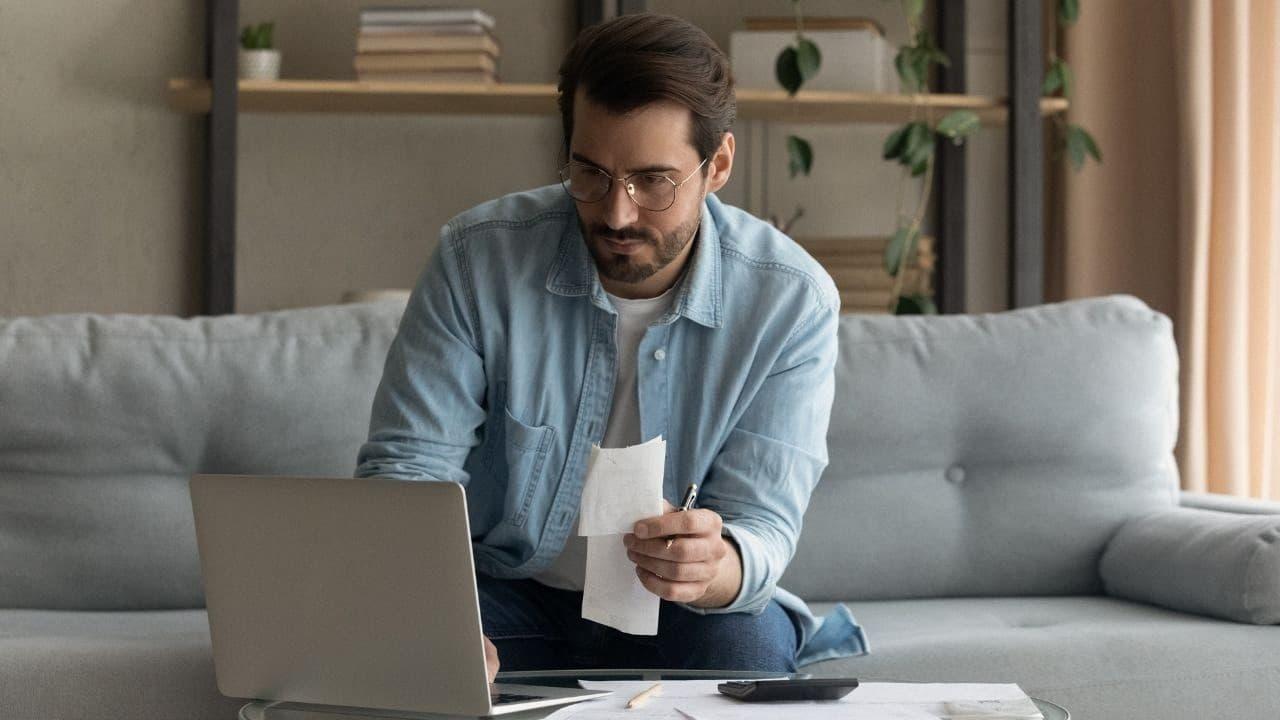 Man managing their finances