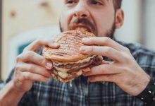 A guy binge eating