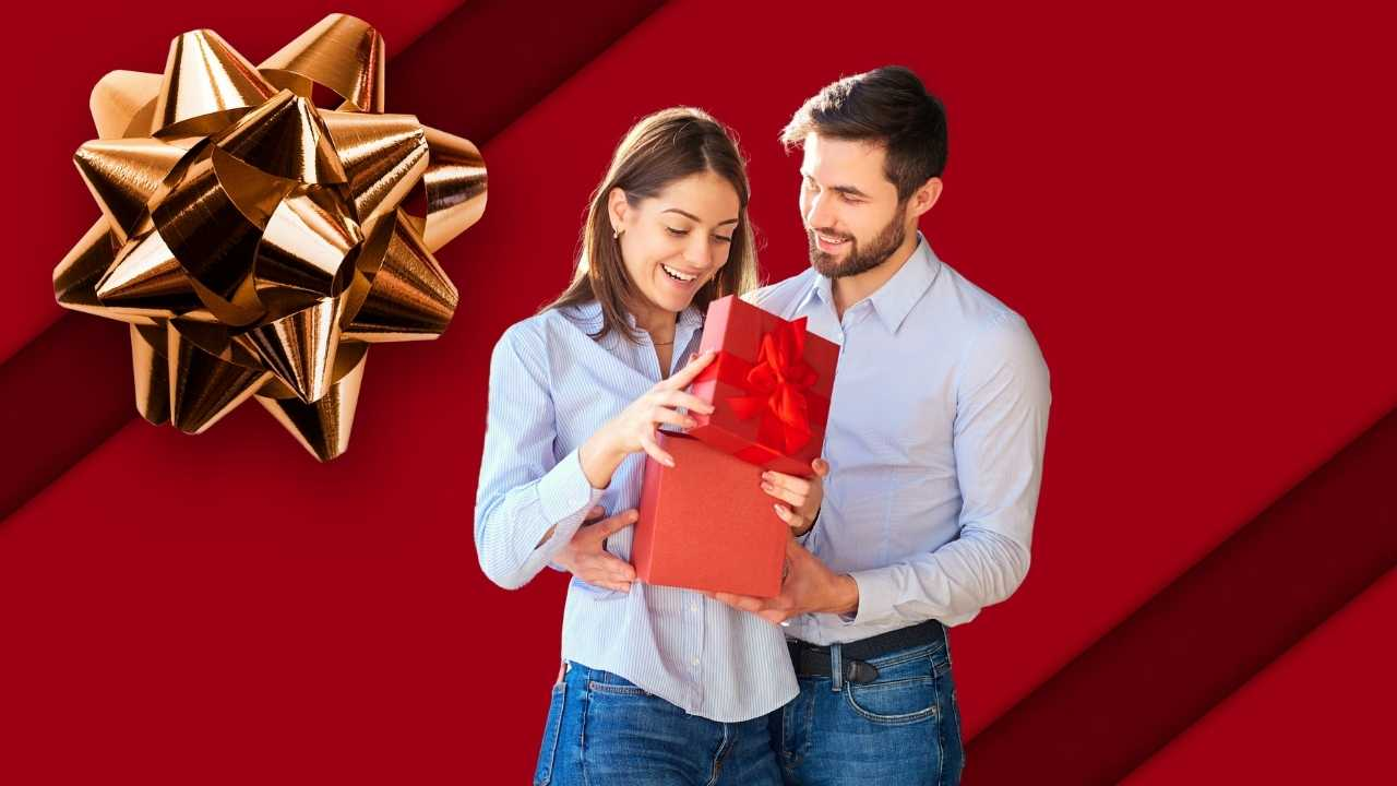 Guy giving a gift to girl