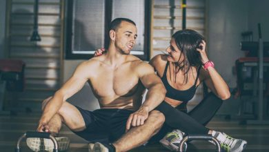 Couple working out