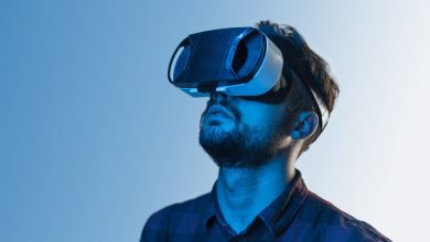Man in VR headset looking up