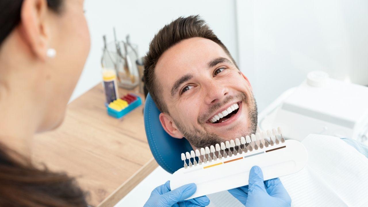 A Guy Undergoing Teeth whitening