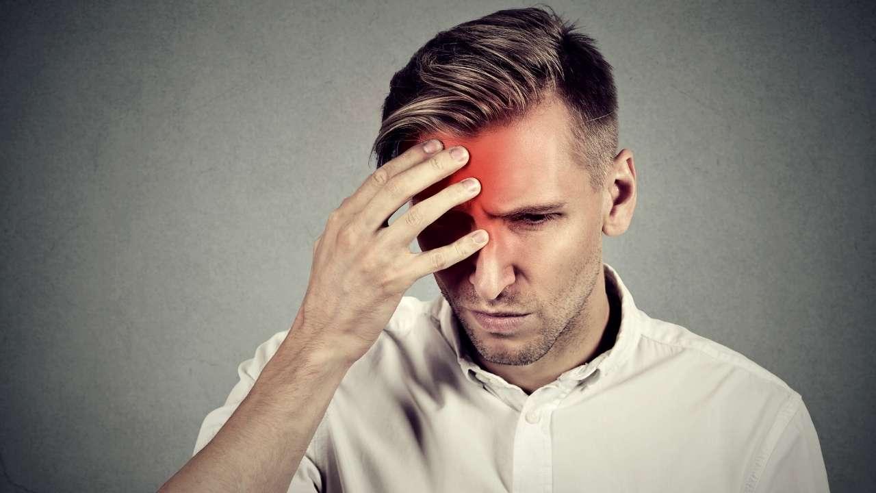 A guy having headache