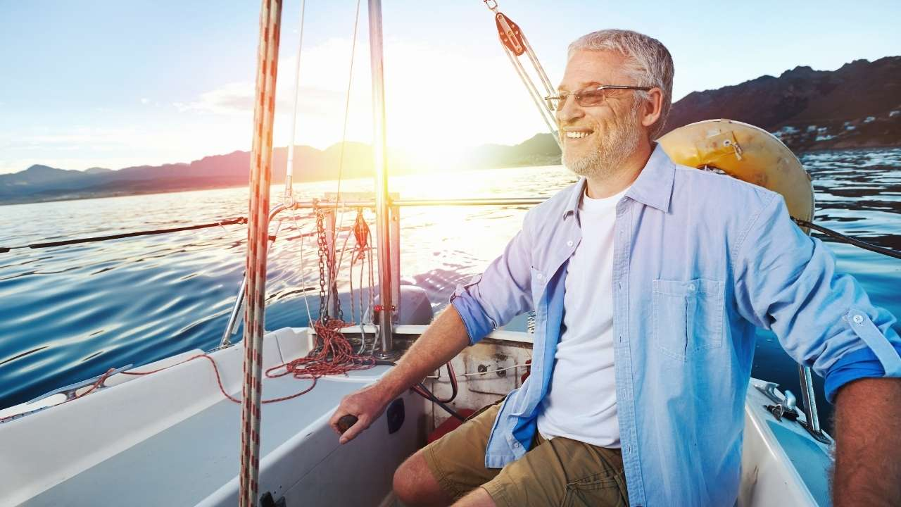 A retired man on a boat